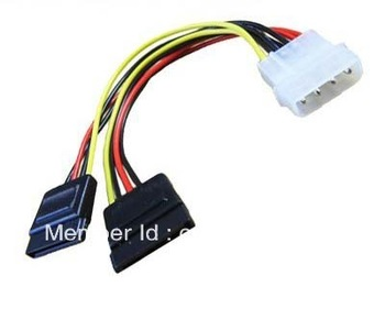 IDE 4Pin to dual Serial SATA ATA Y Splitter Power Cable