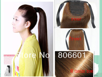 "Retail Virgin Brazilian Factory Ponytail horstail 120g AAA+ 16""- 30"" 100% human hair clips extension #08  chestnut brown"