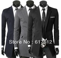 2013 Free shipping NEW STYLE Inserted white Two grain of button men's suit jacket convenient Medium style Leisure suits coat men