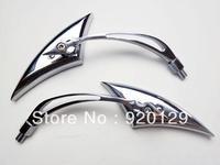 Chrome Spear Custom Side Mirrors Motorcycle Street Sport Bike Cruiser Chopper Free Shipping