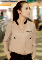 2013 spring color block gold buckle small stand collar shirt chiffon shirt female long-sleeve shirt