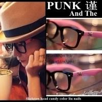 Punk skull punk non-mainstream vintage big black plate frame box plain glass spectacles