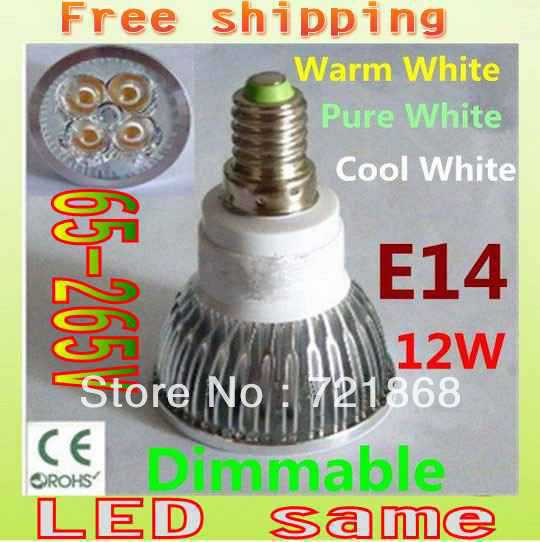 Free shipping 100x Dimmable 12W E14 High Power LED Bulb LED Lamp Spotlight Downlight LED Lighting(China (Mainland))
