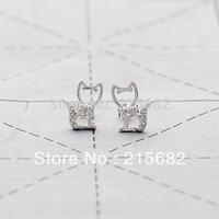 new limited free shipping Italina cute cat earrings 18K white gold plated crystal female Korean version kedol-ERA102