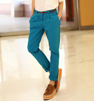 Spring women's candy color loose low-waist roll up hem casual long trousers harem pants female belt