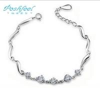 """Poshfeel"" brand women tactful 925 sterling silver+ platinum plated +AAA grade crystal bracelets"