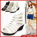 free shipping special price summer new women's Roman style shoes, high heels, wedge,pu leather fish head sandals for lady WSH060