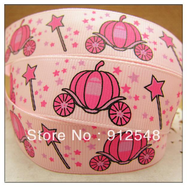 "free shipping 7/8""(22mm) Pumpkin car Printed Grosgrain Ribbon,gift package,Garment accessories,Hair ribbon,satin bow,XFZD044(China (Mainland))"