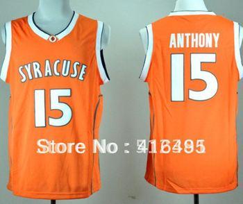 Free Shipping!!! #15 Camerlo Anthony Syracuse Orange Orange Basketball Throwback Jersey