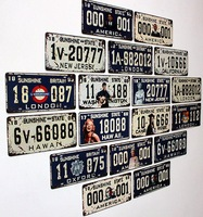 2013 Iron Painting Fashion vintage decoration wall hangings muons digital license plate metal finishing retro nostalgia