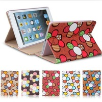2013 New Arrival Lovely Ultra-thin Cartoon Sunflower Style PU Leather Cover Case Stand For iPad Mini 7.9&#39;+Free shipping