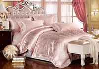 high quality free shipping cotton/silk pink jacquard 4pcs queen king size hometextile bed sheet set bedding set duvet cover set