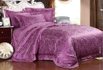 high quality free shipping cotton/silk purple jacquard 4pcs queen king hometextile home hotel bedding set duvet cover set