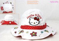 Hot children spring summer cotton sun baseball cap hat! kitty white sun hat fishermen's cap 52cm for children of 2-4 years!
