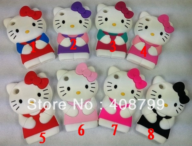 Factory price ! 3D hello kitty Silicone Back Cover Case for Apple iPod Touch 4 4th Free Shipping 20pcs/lot(China (Mainland))