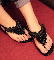 2013 Bohemia beaded rhinestone flat sandals female casual  flat heel flip-flop shoes / free shipping