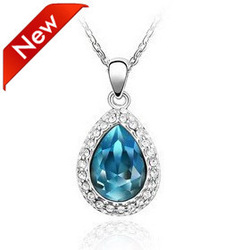 New 2013 Spring Jewelry Crystal Drop Blue Sapphire Necklace Women 10pcs/lot Free Shipping(China (Mainland))