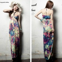 2013 NEW Fashion Multi Flowers Pattern Halter Summer Beach Long Dress Bohemian Maxi Dress/Free Shipping