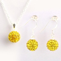 Sale 925 Silver jewelry Sets girls dangle Earrings Necklace yellow sparkling Crystal Disco Ball Shamballa set