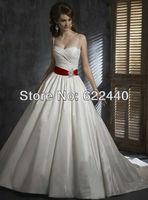 Free Shipping Elegant Spaghetti Straps White Satin Ball Gown Wedding Dresses With Red Bow Ribbon