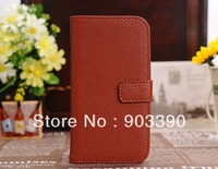 New Arrival for Samsung Galaxy S4 i9500 Litchi PU Credit ID Card Holder stand leather case cover free shipping DHL