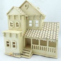 Wooden House puzzles 3D three-dimensional DIY house handmade assembling building model toys free shipping