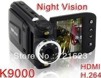 "HD 1080P Car dvr K9000,2.0""TFT LCD car black box with H.264,HDMI,180 degree rotation lens free shipping"