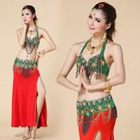bollywood dance costumes indian Single-bra cummerbund skirt 2 piece set belly dance set costume set beaded set