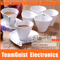 2sets/lot Fashion fancy Bone meal bone china tea/coffee cup set 80ml white ceramic nescafe coffee mugs Free Shipping
