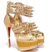 2013 sandals gold studded platform high heel pumps women glitter mirror heels spikes diamond red bottoms shoes