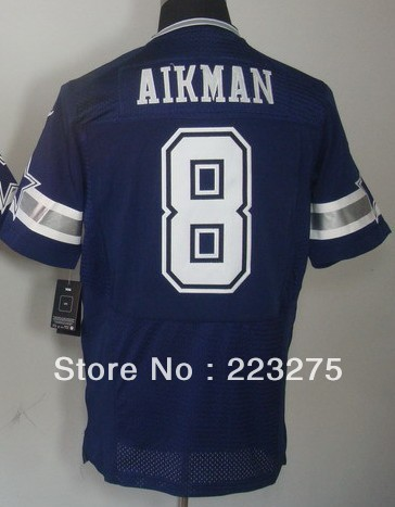 Free shipping ! American football Men&#39;s Dallas Cowboy #8 Aikman Blue / Team Color Elite Jerseys(China (Mainland))