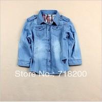 2013 summer fashion full sleeve children denim shirts girls jean blouses boys denim shirts kids shirts children clothes