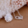 P168 925 silver fashion jewelry chains necklace 925 silver pendant Small roses fall