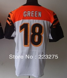 Free shipping ! American football Men&#39;s Cincinnati Bengal #18 Green White Color Elite Jerseys(China (Mainland))