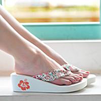 Summer sandals high heels platform slippers flower wedges platform flip flops female sandals female shoes
