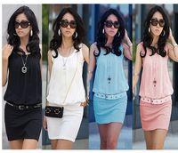 Fashion Summer Women's Mini Dress Crew Neck Chiffon Sleeveless Causal Tunic Sundress 4 colors
