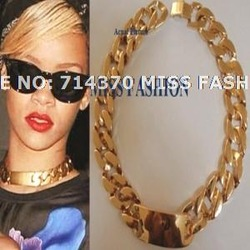 Free Shipping Rihanna Kim K.Celebrity Jewelry Inspired Chunky Gold Solid Metal ID Link Chain Necklace(China (Mainland))