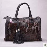 2013 new designer PU leather leopard tassel ladies large handbag tote bags USA famous brand bebe women handbags free shipping