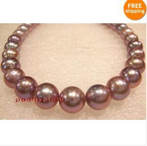 "AAAAA 17""10-11mm rare natural real South sea purples pearl necklace 14K(China (Mainland))"