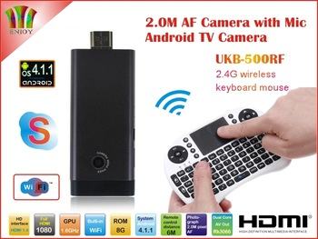 New! 2.0MP Camera and Mic Android 4.1.1 B13 TV Box Rk3066 Dual Core WiFi Antenna 1GB/8GB Skype AV Output +500RF Fly Air Mouse