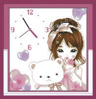 free shipping,unfinished cross stitch sets, Printed cloth,Wall clock Series,  Princess log G179