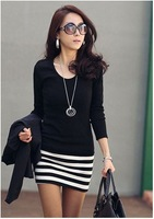 Free shipping New Arrival 2013 Autumn fashion OL Slim Sexy striped patchwork skirt ,Long sleeve style women dress