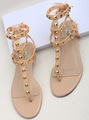 2013 flat sandals rivet genuine leather flat heel gladiator flip-flop female shoes