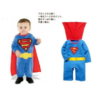 Spring baby clothes long-sleeve romper super man jumpsuit cloak long sleeve length pants twinset