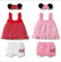 free shipping  MINNIE spaghetti strap princess dress shorts hair band set