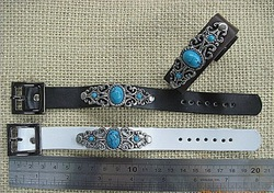 Free shipping ,Leather bracelet with Classic blue stone ,expression personality , rock style Jewelry ,promotion!(China (Mainland))