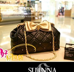 Girls princess series fashion gold bow decoration handbag messenger bag shoulder bag handbag women's(China (Mainland))