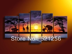 Free Shipping Handpainted Wall Art Abstract Landscape, Africa Prairie Giraffe and Elephant Oil Painting BLA288(China (Mainland))