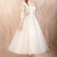Sexy Lace Tea Length Wedding Dresses With Sleeves HD095