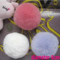 Diameter 6cm Real Rex Rabbit Fur Pom Keychina Ball  Bag China Phone Accessories Free Shipping